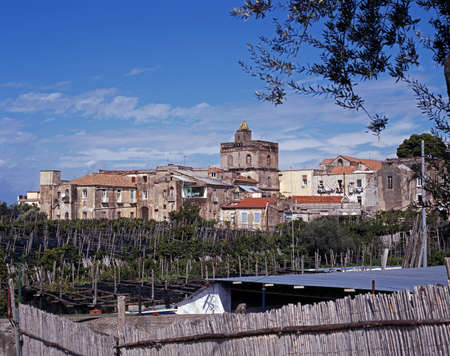 massa: View of the town will allotments in the foreground, Massa Lubrense, Campania, Italy, Europe