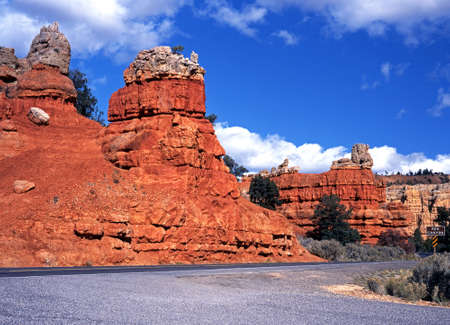 rugged terrain: Red Canyon, Dixie National Forest, Utah, USA  Stock Photo