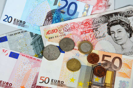 Selection of English and Euro Money  photo