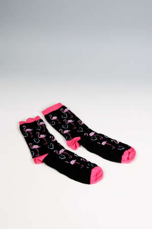 Pair of ankle socks with pink flamingoes design  photo