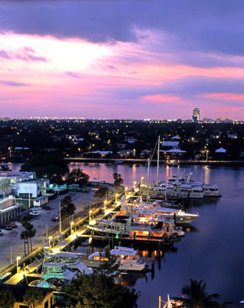 View over the harbour at night from an elevated position, Fort Lauderdale, Florida, USA  Фото со стока
