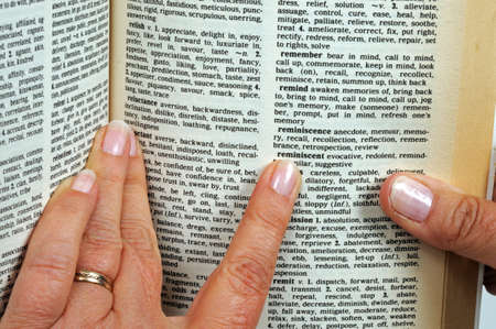 Pointing a finger at words in a thesaurus  photo