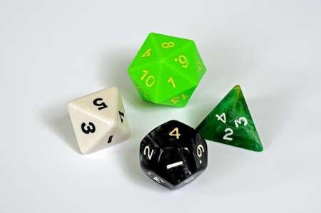 octahedron: Platonic dice selection, England, UK, Western Europe