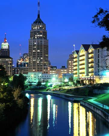 San Antonio River featuring the Tower Life Building at night, San Antonio, Texas, USA