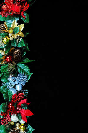 Christmas garland border on the top side of the frame  Stock Photo - 21331478