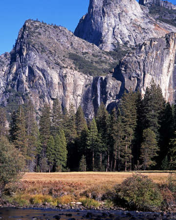 Bridalveil Fall, Cathedral Spires, Yosemite National Park, California, USA photo