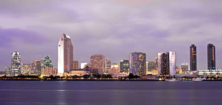 City skyline at dusk, San Diego, California, USA  photo