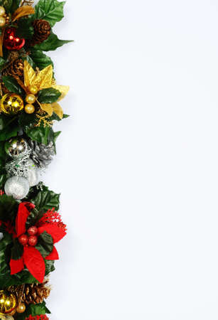 gold border: Christmas floral decoration edge on a white background