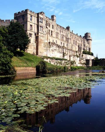 Warwick castle and moat, Warwick, Warwickshire, England, UK, Western Europe