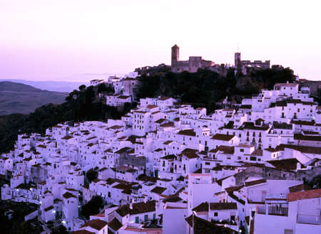 Late afternoon view over the town, Casares, Malaga Province, Andalucia, Spain, Western Europe  Stock Photo - 21592556