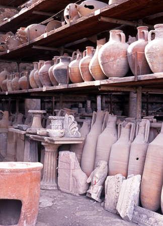 Pots in storage, Pompeii, Nr  Naples, Campania, Italy, Europe  photo