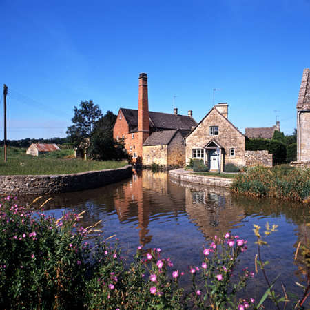 slaughter: Watermill on the River Eye, Lower Slaughter, Gloucestershire, Cotswolds, England, UK, Western Europe
