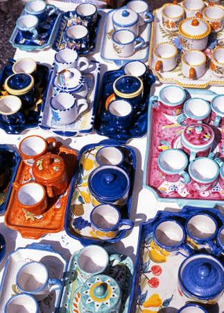 mementos: Pottery for sale, Ravello, Amalfi Coast, Campania, Italy  Europe  Stock Photo