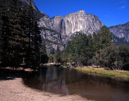 Upper Yosemite Fall and Merced River, Yosemite National Park, California, USA  photo