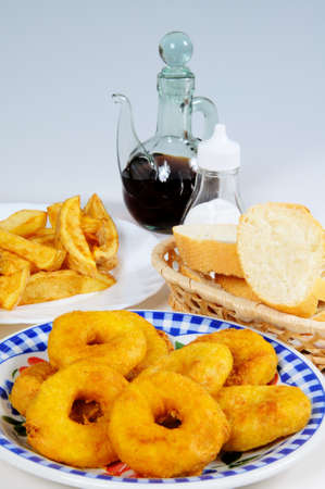 calamares: Tapas, Chips  Fries , Calamares  Squid rings  and bread, Costa del Sol, Malaga Province, Andalucia, Spain, Western Europe