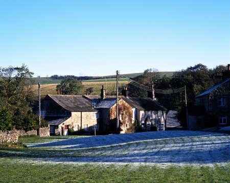 Farmhouses, Ayrton, Yorkshire Dales, North Yorkshire, England, UK, Great Britain, Western Europe