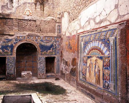 Binnen de remians van een van de Romeinse villa, Herculaneum, nabij Naples, Campania, Itali