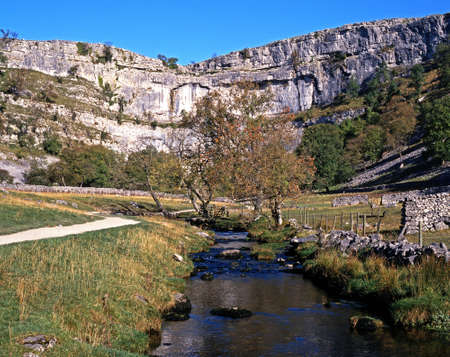 north gate: Malham Cove and beck, Malham, Yorkshire Dales, North Yorkshire, England, UK, Great Britain, Western Europe