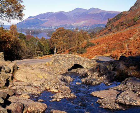 View of Ashness Bridge and Derwent Water, Borrowale, Near Keswick, Lake District, Cumbria, England, UK, Western Europe  photo