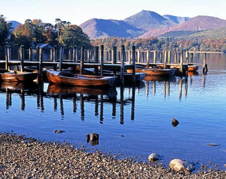 Rowing boats and moorings on Derwent Water, Keswick, Cumbria, England, UK, Western Europe  Reklamní fotografie