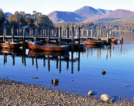 Rowing boats and moorings on Derwent Water, Keswick, Cumbria, England, UK, Western Europe  photo