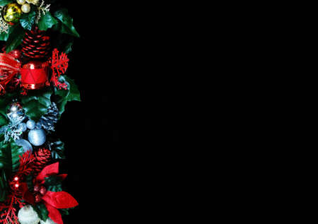 Christmas garland border on the top side of the frame Stock Photo - 21854249
