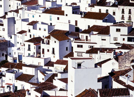 whitewashed: Close up of the whitewashed houses in this famous  Stock Photo