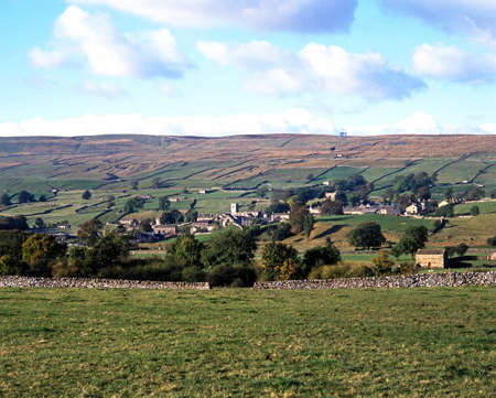 View of the town and surrounding countryside, Askrigg, Wensleydale, Yorkshire Dales, North Yorkshire, England, UK, Great Britain, Western Europe  photo