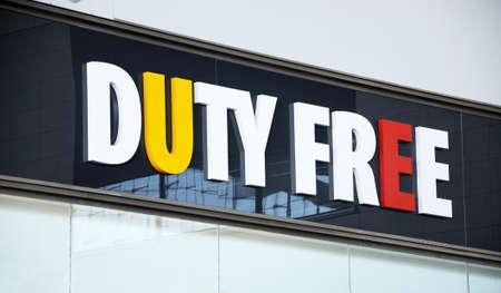 Duty signe de libre-boutique à l'intérieur du Terminal 3, aéroport de Malaga, Malaga, Province de Malaga, Costa del Sol, Andalousie, Espagne, Europe de l'Ouest Banque d'images