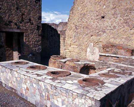 Roman Bar, Herculaneum, Near Naples, Campania, Italy, Europe photo