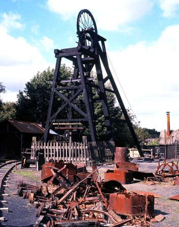 midlands: Pit Head winding wheel,Dudley, West Midlands, England, UK, Western Europe