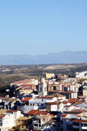 loja: View of the town and Church of the Encarcacion Andalucia, Spain Stock Photo
