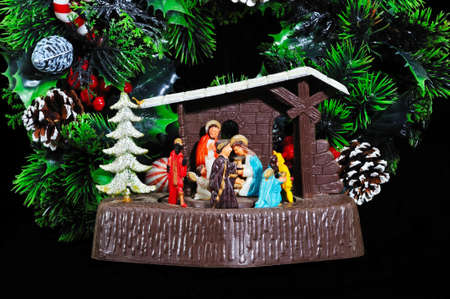 1960s Christmas Nativity music box with Christmas wreath to the rear, England, UK, Western Europe  photo
