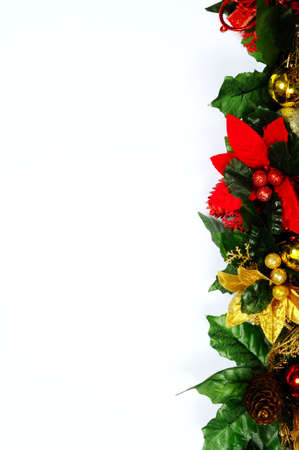 Christmas floral decoration edge on a white  photo