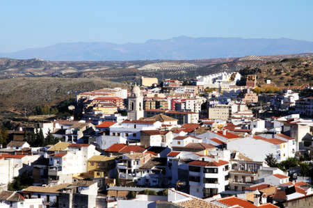 loja: View over the town rooftops towards the mountains, Loja, Granada Province, Andalucia, Spain, Western Europe