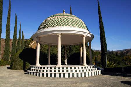 mirador: Green and white gazebo mirador, Malaga, Malaga Province, Andalucia, Spain