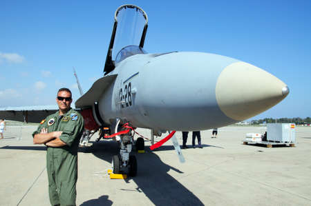 Mc-Donnell Douglas F-18 Hornet and pilot  Spanish Air Force  at the second Malaga Air Show, Malaga Airport, Malaga, Costa del Sol, Malaga Province, Andalucia, Spain, Western Europe