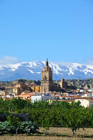 View of the town and Cathedral with the snow capped mountains of the Sierra Nevada to the rear, Guadix, Granada Province, Andalucia, Spain, Western Europe