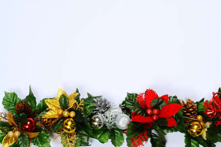 Christmas floral decoration edge on a white background  photo