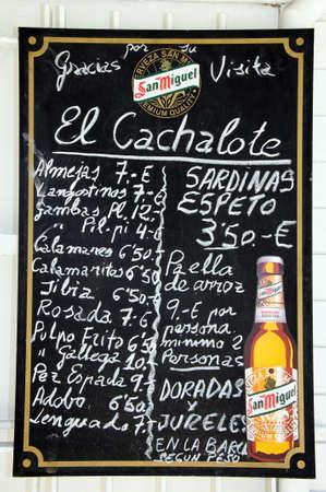 writing western: Malaga, Spain - June 14, 2011 - Beach bar menu board, Malaga, Costa del Sol, Malaga Province, Andalusia, Spain, Western Europe