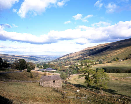 View of farmland and surrounding countryside, Wharfdale, Yorkshire Dales, North Yorkshire, England, UK, Great Britain, Western Europe  photo