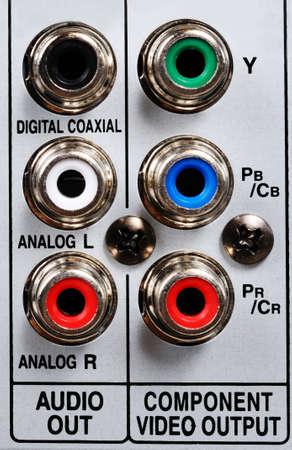 rca: Prese audio RCA sul retro dell'apparecchio video di HDD, Inghilterra, Regno Unito, Europa Occidentale Archivio Fotografico
