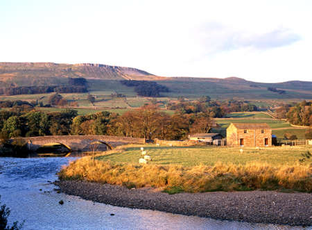 Yorkshire Dales: Farm alongside the River Ewer at Hawes, Yorkshire Dales, North Yorkshire, England, UK, Great Britain, Western Europe