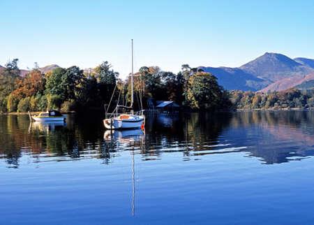 Boats moored on Derwent Water, Keswick, Cumbria, England, UK, Western Europe  Stock Photo - 24361842