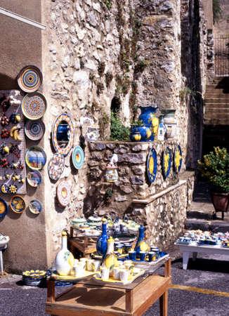 mementos: Ravello, Italy - Circa September, 1996 - Pottery for sale, Ravello, Amalfi Coast, Campania, Italy, Europe