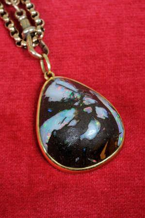 opalescent: Wood opal pendant