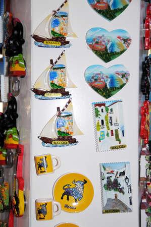 novelties: Malaga, Spain - June 14, 2011 - Souvenir fridge magnets, Malaga, Costa del Sol, Malaga Province, Andalucia, Spain, Western Europe  Editorial
