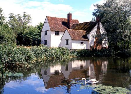 listed buildings: Flatford, UK - Circa June 1991 - Willy Lotts Cottage along the River Stour, Flatford, East Bergholt, Suffolk, England, UK, Western Europe