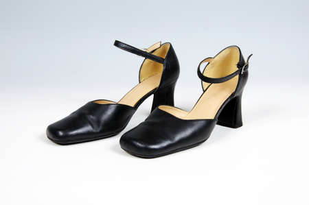 heel strap: Pair of black leather womens shoes  Stock Photo