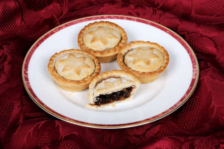 Mince Pies on a white plate against a red background